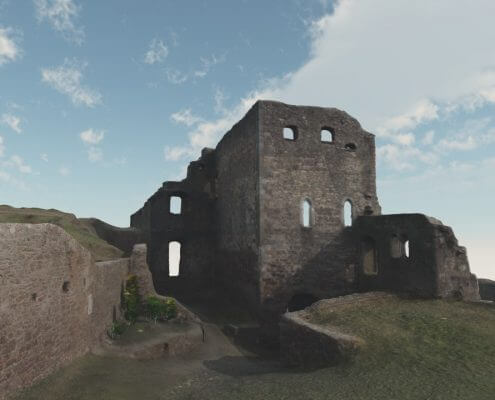 Castle ruin rendering example