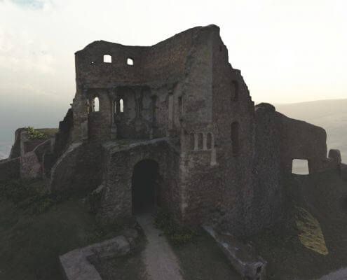 Castle ruin rendering example sunset