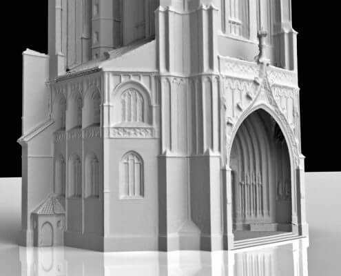 Church tower St. Martin 3d mesh of the portal