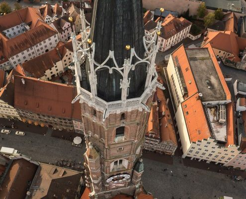 Church tower St. Martin octocopter view